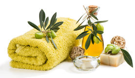 Beautiful spa setting with olives Stock Photo