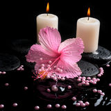 Beautiful spa setting of pink hibiscus, candles, zen stones Stock Photo