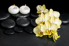 Beautiful spa setting of yellow orchid phalaenopsis and candles Stock Images