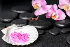 Spa setting of zen stones, lilac orchid Stock Image