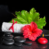 Beautiful spa still life of red hibiscus flower with dew, candle Royalty Free Stock Images