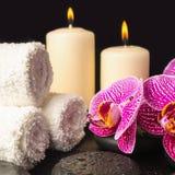Beautiful spa stilleven van zenstenen met dalingen, bloeiend takje Royalty-vrije Stock Afbeeldingen