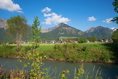 Beautiful spa town oberstdorf, upper bavaria in spring royalty free stock image