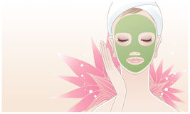 Beautiful spa woman applying facial mask. Beautiful spa woman applying face beauty mask on a lotus flower background. Skin care. Relaxation stock illustration