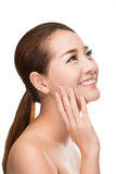 Beautiful spa woman with clean beauty skin touching her face, Beauty treatment concept. Royalty Free Stock Photos