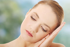 Beautiful spa woman with eyes closed. Stock Photography