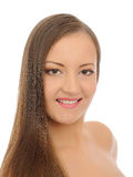 Beautiful spa woman face with long healthy hair Stock Image