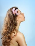 Beautiful Spa Woman With Flower Relaxing. Royalty Free Stock Photography