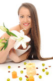 Beautiful spa woman with healthy long hair Stock Image