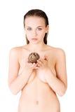 Beautiful spa woman holding Rose of Jericho Stock Photo