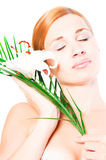 Beautiful spa woman with lilly Royalty Free Stock Photo
