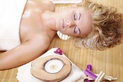 Beautiful spa woman resting Royalty Free Stock Image