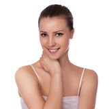 Beautiful Spa Woman Touching her Face Royalty Free Stock Image