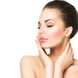 Beautiful spa woman touching her face Royalty Free Stock Photos