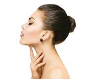 Beautiful spa woman touching her face Stock Photo