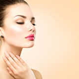 Beautiful spa woman touching her face Royalty Free Stock Images