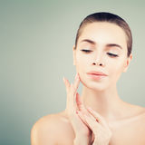 Beautiful Spa Woman Touching her Hand her Face Royalty Free Stock Photos
