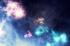 Beautiful space background with stars sky and galaxies and constellations in outer space. 3d rendering Stock Photo