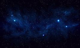 Beautiful space with blue nebula, realistic vector - EPS 10 Stock Photos