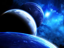 Beautiful space scene with parade of planets and nebula Royalty Free Stock Photos