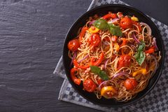 Beautiful spaghetti with minced meat and vegetables, top view Royalty Free Stock Image