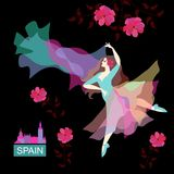 Beautiful Spanish girl dancing flamenco with a shawl in her hands in the form of a flying bird. Pink flowers are falling. Isolated on black background in stock illustration