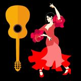 Beautiful Spanish girl, dressed in a traditional red dress, and with castanets in her hands, dancing flamenco and guitar. Silhouette on black background in stock illustration