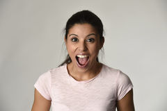 Beautiful Spanish Surprised Woman Amazed In Shock And Surprise Happy And Excited Royalty Free Stock Images