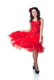 Beautiful Spanish woman in a red dress Stock Photo