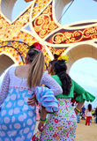 Beautiful spanish women in the Fair, Seville, Andalusia, Spain Royalty Free Stock Image