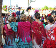 Beautiful spanish women in the Fair, Seville, Andalusia, Spain Stock Image