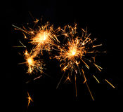 Beautiful sparkler. On black background Stock Photos
