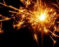 Beautiful sparkler on black background. Royalty Free Stock Image
