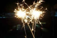 Beautiful sparklers fire crackers for Chinese New Year,. Christmas or New Year party Royalty Free Stock Images