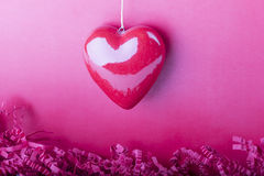 Beautiful special macro heart with details symbol of love. Red pink heart shape for e.g. a present at Valentine's Day or Mother's Day Royalty Free Stock Photos