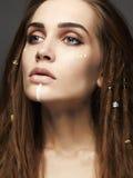 Beautiful sphinx girl.make-up Stock Photo