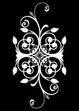 Beautiful spiral design. A pretty artistic white spiral and swirl abstract design on a black background (wedding, engagement, logo, cards, symbol, motif, label royalty free illustration