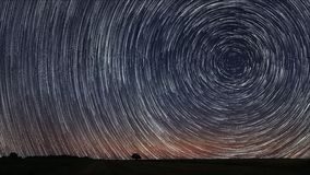 Beautiful Spiral Star Trails over filed with lonely tree. Beautiful night sky. Royalty Free Stock Photo