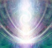 Beautiful Spiralling Vortex Healing Energy Field. White light forming a gaseous spiral shape flowing through a purple jade coloured energy field vector illustration