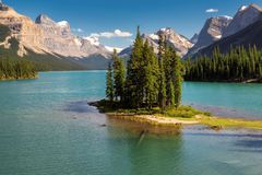 Spirit Island in Maligne Lake in Jasper National Park. Beautiful Spirit Island in Maligne Lake, Jasper National Park, Alberta, Canada Stock Photos