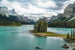 Beautiful Spirit Island in Maligne Lake, Jasper National Park, Alberta, Canada. Photo taken in Jasper National Park, Alberta, Canada Stock Image