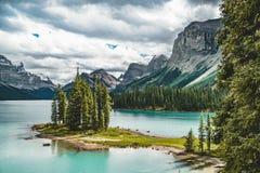 Beautiful Spirit Island in Maligne Lake, Jasper National Park, Alberta, Canada. Photo taken in Jasper National Park, Alberta, Canada Royalty Free Stock Image