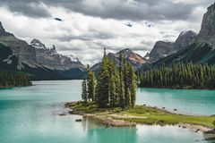 Beautiful Spirit Island in Maligne Lake, Jasper National Park, Alberta, Canada. Photo taken in Jasper National Park, Alberta, Canada Stock Images