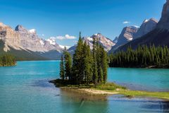 Spirit Island in Maligne Lake, Jasper National Park. Beautiful Spirit Island in Maligne Lake, Jasper National Park, Alberta, Canada Stock Photo