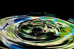 Beautiful splash of water yellow-green neon drops Stock Photography