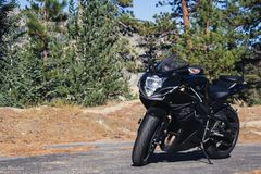 Super sport bike in the mountains Stock Photos