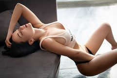 Beautiful sport style girl in a sexy lingerie Stock Image