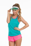 Beautiful Sport Woman In Green Sun Visor Royalty Free Stock Photos