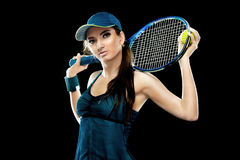 Beautiful sport woman tennis player with racket in blue costume Stock Photo