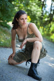 Beautiful sport woman training  in park Royalty Free Stock Photo